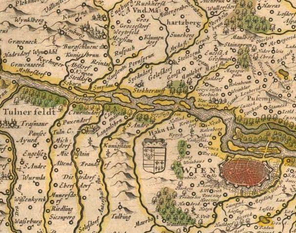 Blaeu 1645: Austria Archiducatus - Ausschnitt Wien, Hollabrunn, Tulln